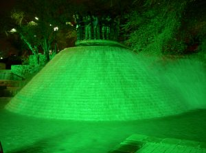 Green fountain.