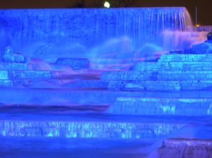 Blue fountain.